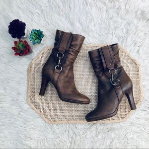 Coach Torree Brown Leather Heeled Boots